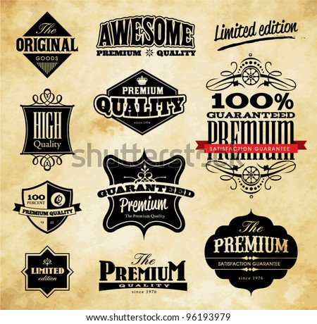 Set of Vintage Style Premium Quality, Original & Limited Edition Icons/Labels - stock vector