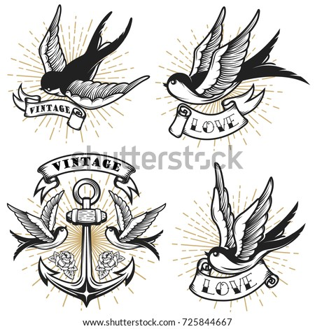 Set of vintage style tattoo with swallow birds, anchor isolated on white background. Design element for logo, label, emblem, sign. Vector illustration.