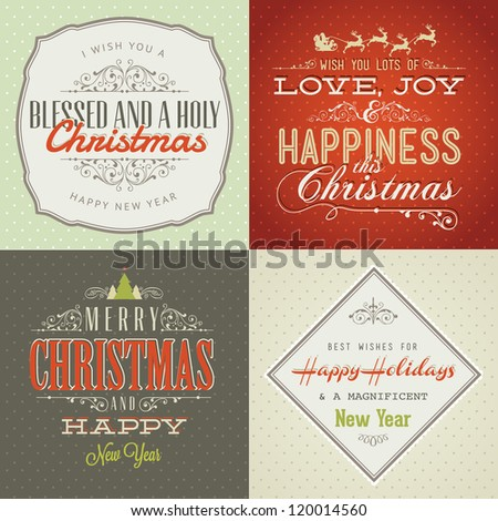 Set of vintage styled Christmas and New Year cards. Vintage decoration, background, typographic, labels and elements for Christmas
