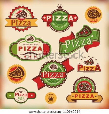 set of vintage styled pizza