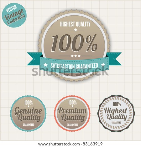 Set of vintage styled premium quality badges