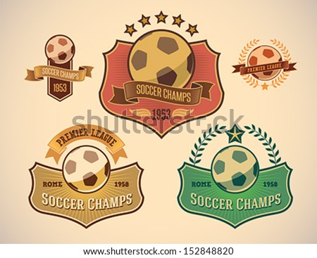 Set  of vintage-styled soccer championship labels including an image of a ball. Editable vector.