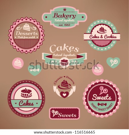 Set of vintage styled various labels