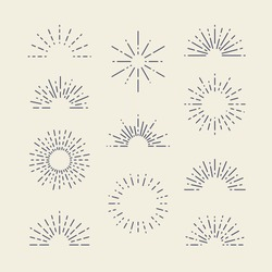 Set of Vintage Sunbursts in Different Shapes. Trendy Hand Drawn Retro Bursting Rays Design Elements. Hipster Vector illustration