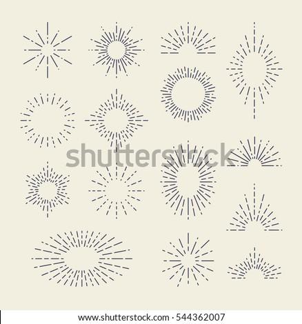 Set of Vintage Sunbursts in Different Shapes. Trendy Hand Drawn Retro Bursting Rays Design Elements. Hipster Vector illustration