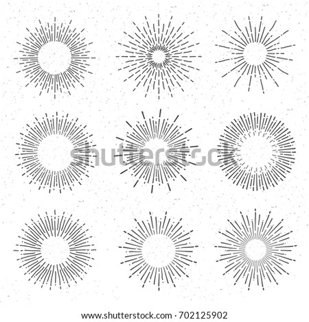 Set of vintage  sunbursts on white background. Starburst, sunrays. Design elements.