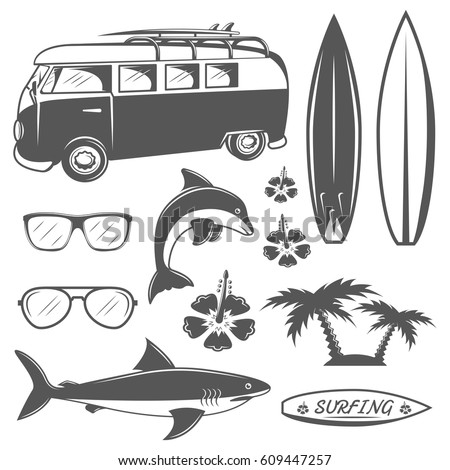 set of vintage surfing design
