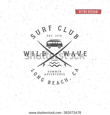 set of vintage surfing graphics