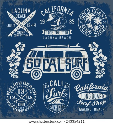 set of vintage surfing graphics
