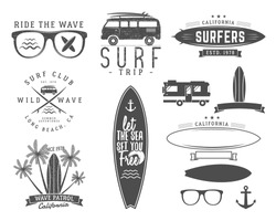 Set of Vintage Surfing Graphics and Emblems for web design or print. Surfer logo templates. Surf Badge. Summer fun. Surfboard elements. Outdoors activity - boarding on waves. Vector hipster insignia.