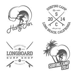 Set of vintage surfing labels and badges