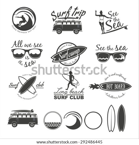 set of vintage surfing logos