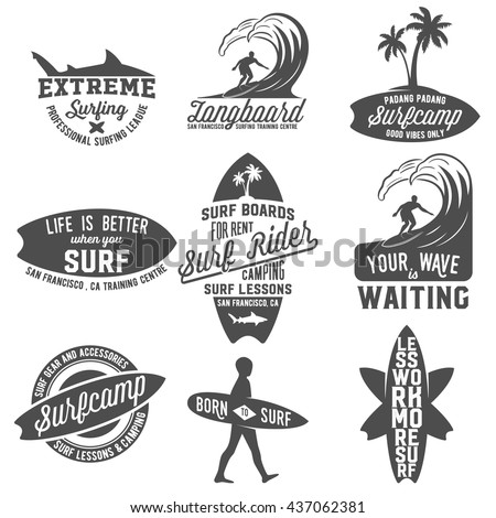 set of vintage surfing