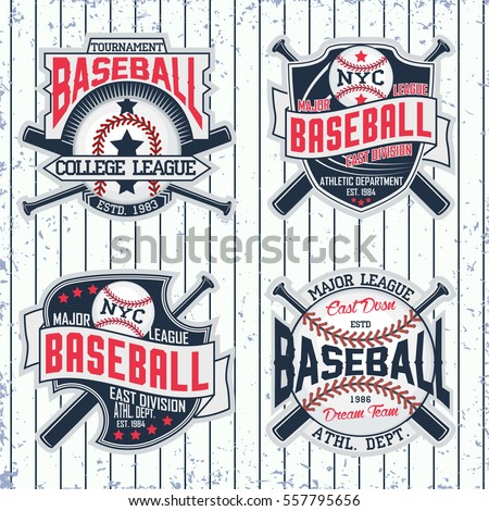 Set of Vintage t-shirt graphic designs,  Creative print stamps, baseball typography emblems, sports logos, Vector