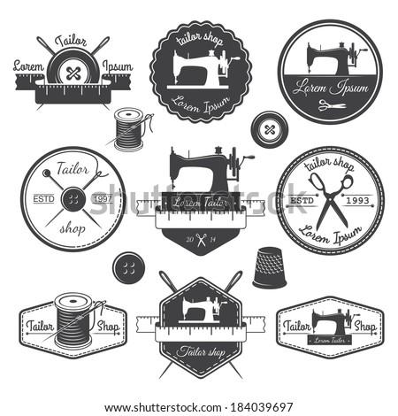 set of vintage tailor labels ...