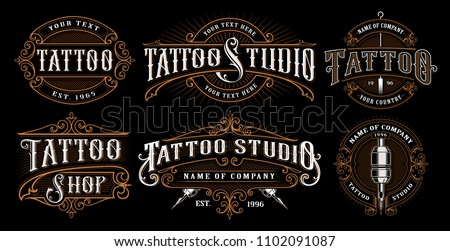 Set of vintage tattoo emblems, logos, badges, shirt graphics. Tattoo lettering illustration. All elements, text are on the separate layer. (VERSION FOR DARK BACKGROUND).