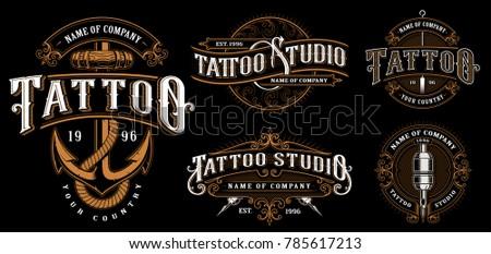 set of vintage tattoo emblems