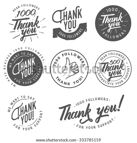 set of vintage thank you badges ...
