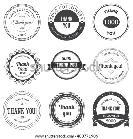 Set of vintage Thank you badges, labels and stickers. Vector illustration.
