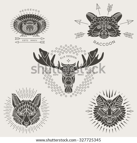 set of vintage thin line animal