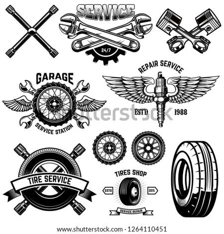 Set of vintage tire service emblems and design elements. For logo, label, emblem, sign, poster, banner,t shirt. Vector illustration