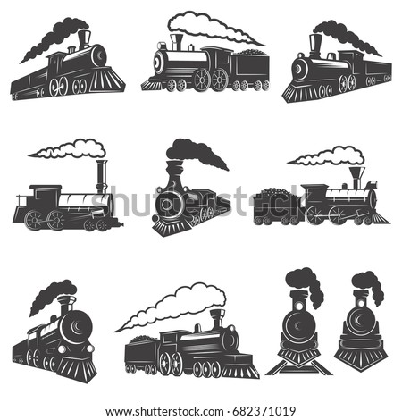 set of vintage trains isolated...