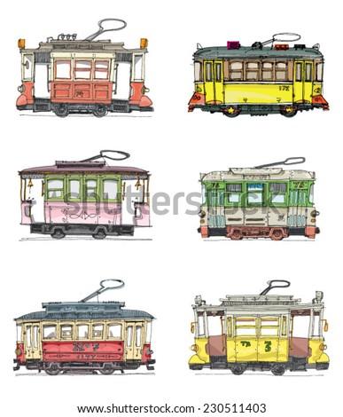 set of vintage trams   cartoon