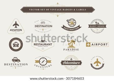 set of vintage travel badges