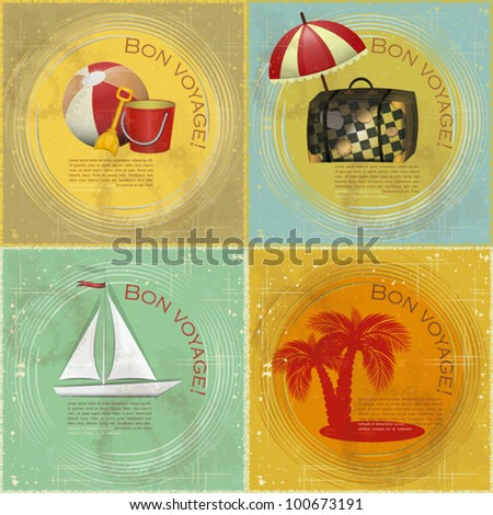 set of Vintage travel postcard boat beach toys suitcase palm on grunge background