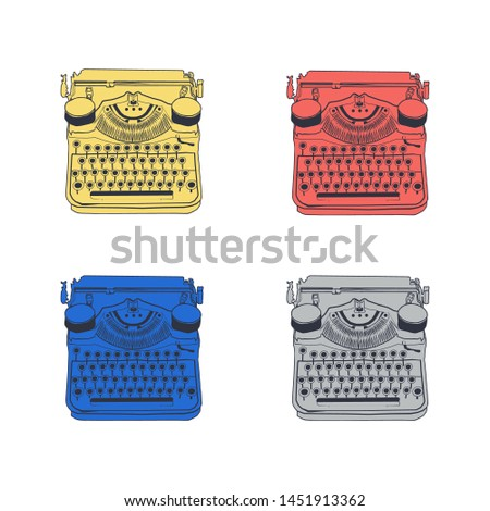 Set of 4 vintage typewriters color vector illustrations inspire writers, screenwriters, copywriters and other creative people