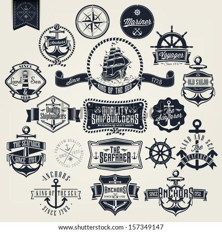 Set Of Vintage Typographical Retro Nautical Labels