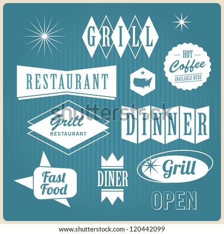 set of vintage u.s.a restaurant signs, panel, badge and label