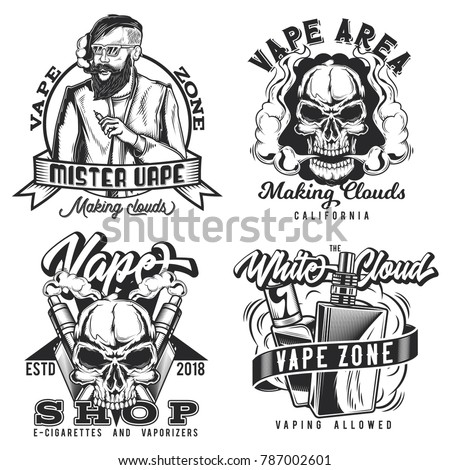 set of vintage vape emblems