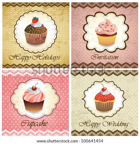 Set Of Vintage Various Cupcake Cards Template Stock Vector