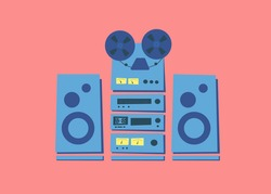 Set of vintage various stereo audio systems in rack. Acoustic system. Reel tape recorder. Radio tuner. Hi-Fi tape cassette deck. Sound amplifier. Musical equipment 80s. Vector illustration. Isolated.