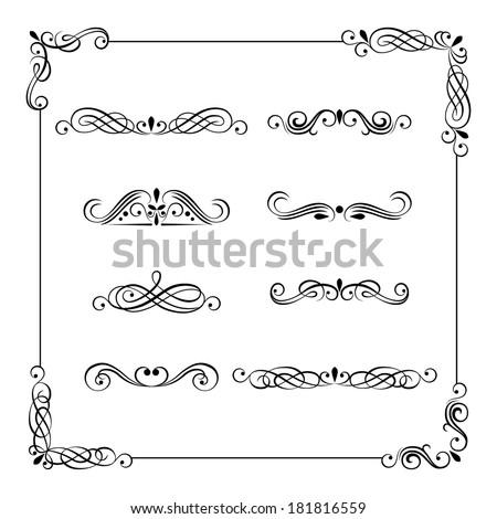 Set of vintage vector frame, border, divider, corner. Retro elements collection. Ornate page decor elements for calligraphy design