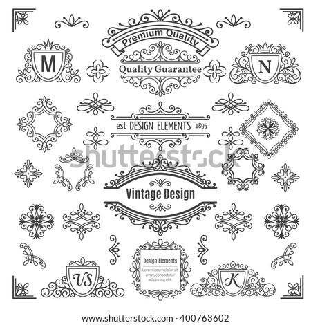 Set of vintage  vector line elements . Calligraphic decorative dividers borders swirls scrolls  monograms and frames.