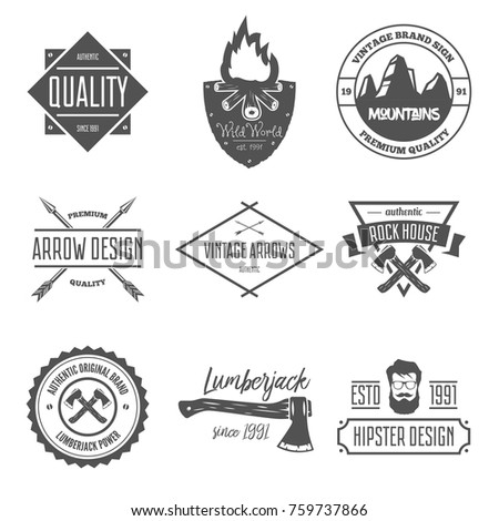 Set of vintage vector logotypes elements, labels, badges, objects and silhouettes