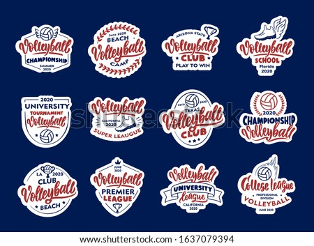 Set of vintage Volleyball emblems and stamps. Badges, templates and stickers for club, school on white background. Collection of retro logos with hand-drawn text and phrases. Vector illustration