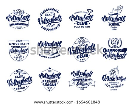 Set of vintage Volleyball emblems and stamps. Blue badges, templates and stickers for club, school on white background. Collection of retro logos with hand-drawn text and phrases. Vector illustration