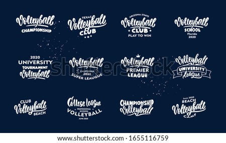 Set of vintage Volleyball phrases. White emblem, badges, templates and stickers for Volleyball club, school on blue background. Collection of retro logos with hand-drawn text. Vector illustration