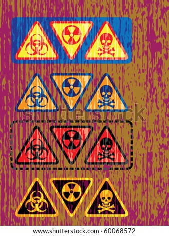Set of vintage washout color international warning symbols featuring radioactive, nuclear and danger sign icons printed on scratched color background with 4 options color.