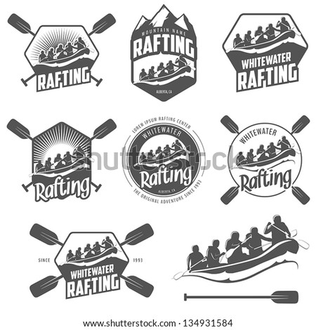Set of vintage whitewater rafting logo labels and badges