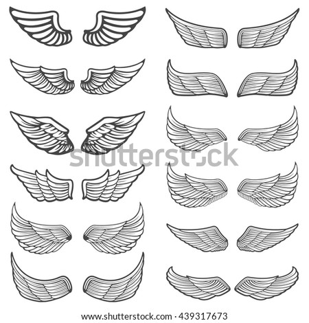 set of vintage wings isolated