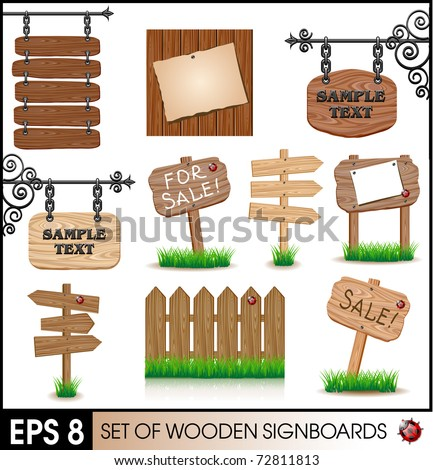 Set of vintage wooden signboards