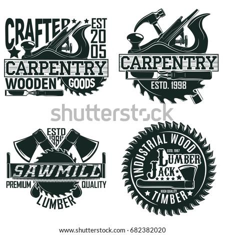 Set of Vintage woodworking logo designs,  grange print stamps, creative carpentry typography emblems, Vector