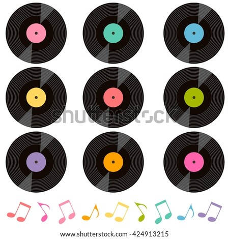 set of vinyl records and music