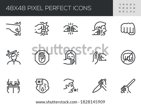 Set of Violence Vector Line Icons. Domestic Abuse, Child Abuse, Victim of Violence. Fight, Hit, Assault. Editable Stroke. 48x48 Pixel Perfect. Stock photo ©