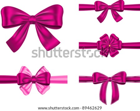 Set of violet gift ribbons with bows for cards and decorations. Vector illustration