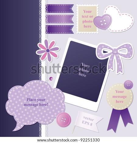 set of violet scrap-booking elements, vector set